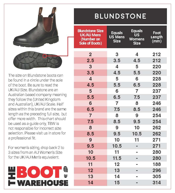 blundstone size guide