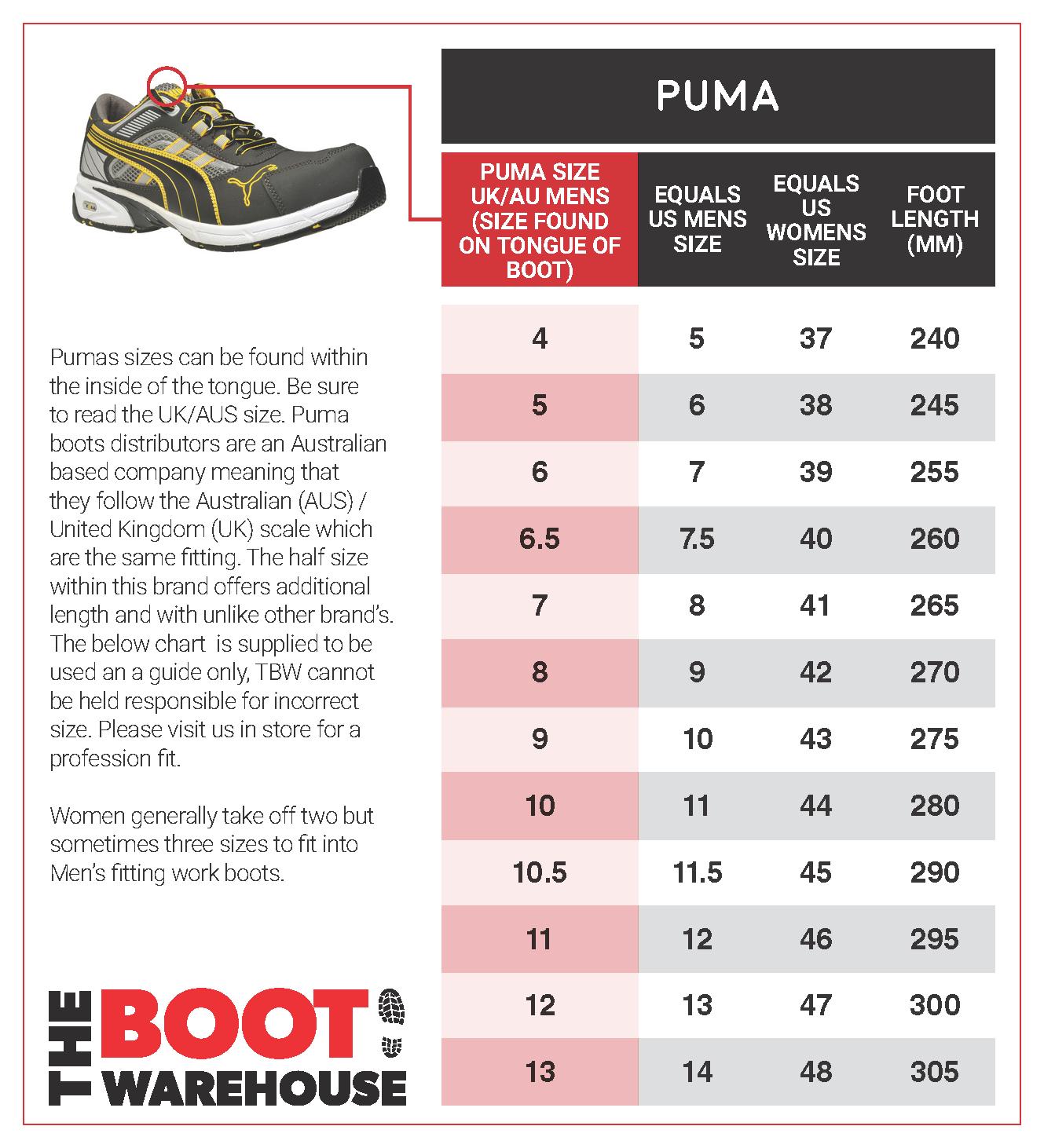 puma size guide