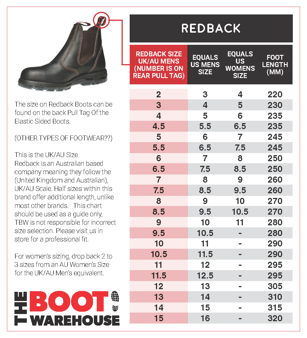 redback size guide