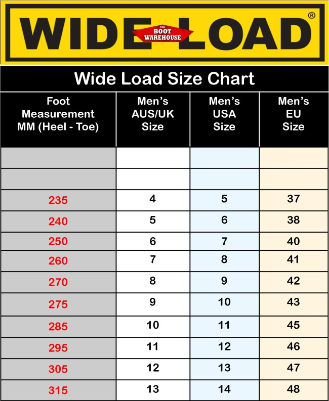wide load size guide
