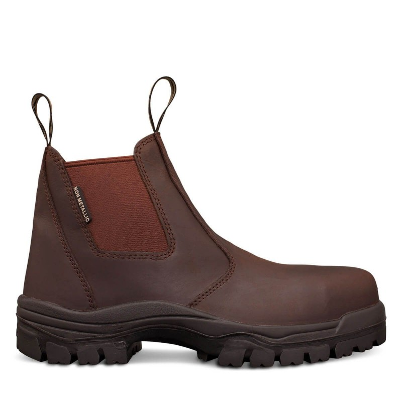 Oliver Work Boots 45627 Brown Elastic Sided Fully Non