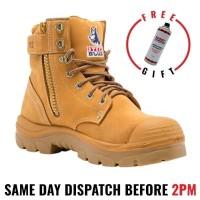 Steel Blue 'Argyle' 332152 Wheat Work Boots. Steel Toe Cap Safety. Zip Side, Bump Cap