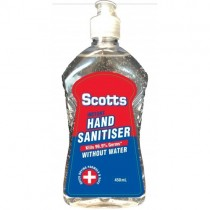 Scotts hand sanitiser 450ml alcohol based Kills 99.99% of Germs