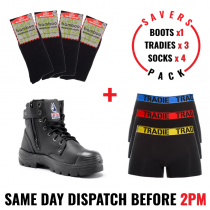 Savers Pack - Steel Blue Argyle Zip/Bump Cap Black 332152 Safety Zip Side Work Boot - Tradie Underwear - Bamboo Socks