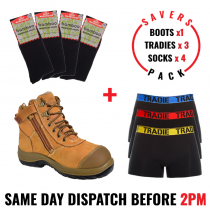 Savers Pack - Oliver 34662 Safety Zip Side Work Boot - Tradie Underwear - Bamboo Socks
