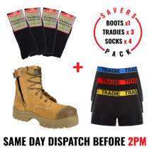 Savers Pack - Oliver 45632z Safety Zip Side Work Boot - Tradie Underwear - Bamboo Socks
