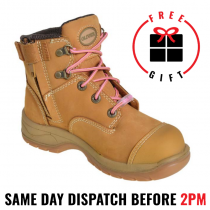 Oliver Work Boots, 49432z, Women's' Wheat Nubuck, Zip Side, Steel Cap Safety