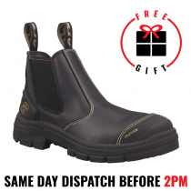 Oliver Work Boots 55320. Black, Elastic Sided, Water Resistant Steel Toe Safety