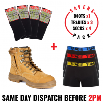 Savers Pack - Oliver 55332z Safety Zip Side Work Boot - Tradie Underwear - Bamboo Socks