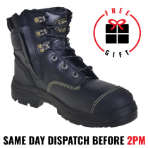 "Oliver Work Boots 55345z, 150mm (8""), Zip - Lace-Up 'Black', Steel Toe Cap Safety."