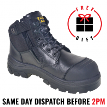 Wide Load 690BZN, 15cm (6') Non Safety, No Steel TToe, Black Steel toe Zip/Lace Up Boot.