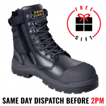 Wide Load 890BZ, 20cm (8') Black Steel toe Zip/Lace Up Boot.