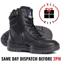 Mongrel 251020 Work Boots. 8inch Steel Toe Safety. Black Lace Up Zip-Sider Ankle Boot, Press stud