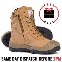 Mongrel 451050 Work Boots. 8inch Steel Toe Safety. Wheat Lace Up Zip-Sider Ankle Boot, Press stud