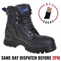 Blundstone 997 Work Boots, Black, Zip Sided, Steel Toe Safety,150mm.