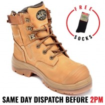 """Oliver Work Boots 55332z, 150mm (8""""), Zip - Lace-Up 'Wheat', Steel Toe Cap Safety."""