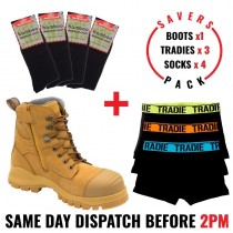Savers Pack - Blundstone 992 Safety Zip Side Work Boot - Tradie Underwear - Bamboo Socks