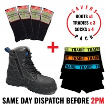 Savers Pack - Blundstone 997 Safety Zip Side Work Boot - Tradie Underwear - Bamboo Socks
