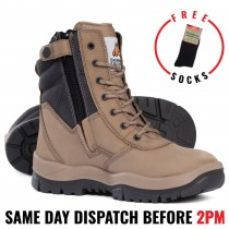Mongrel 251060 STONE Steel Toe Work Boots. Lace Up Zip-Sider