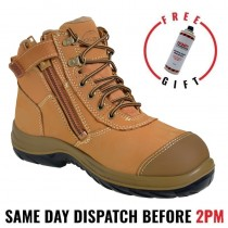 Oliver 34662 Work Boot. Steel Toe Safety. Wheat Nubuck Zip-Side Ankle Boot.