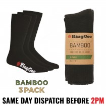 "King Gee ""K09230"" Men's Bamboo Work Socks Black - 3 PACK"