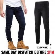 King Gee K13013 Men's Stretch Coolmax Cuffed Denim Jeans - Slim Fit