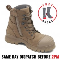 Blundstone 984 Steel Toe Safety Work Boots. Stone, 150mm, Zip Side / Lace-up