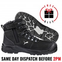 Puma Work Boots 630527 'Sierra Nevada Black', Zip Composite Toe Safety, 100% WATERPROOF!