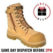 Wide Load 890WZ, 20cm (8') Wheat Steel toe Zip/Lace Up Boot.