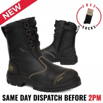 Oliver Work Boots 55380 Black, Steel Toe Safety. High Leg, Zip Sided Riggers Boot