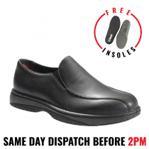 Redback Work Boots RCBN CHEF, Non Safety Soft Toe, Black Slip-On Shoes.