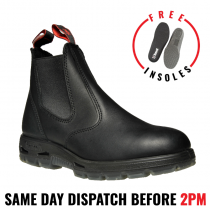 Redback UBBK Non Safety - No Steel Toe - Black Work Boots. Elastic Sided Bobcat. Oiled-Kip