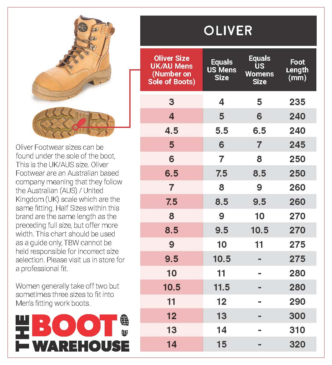oliver size guide
