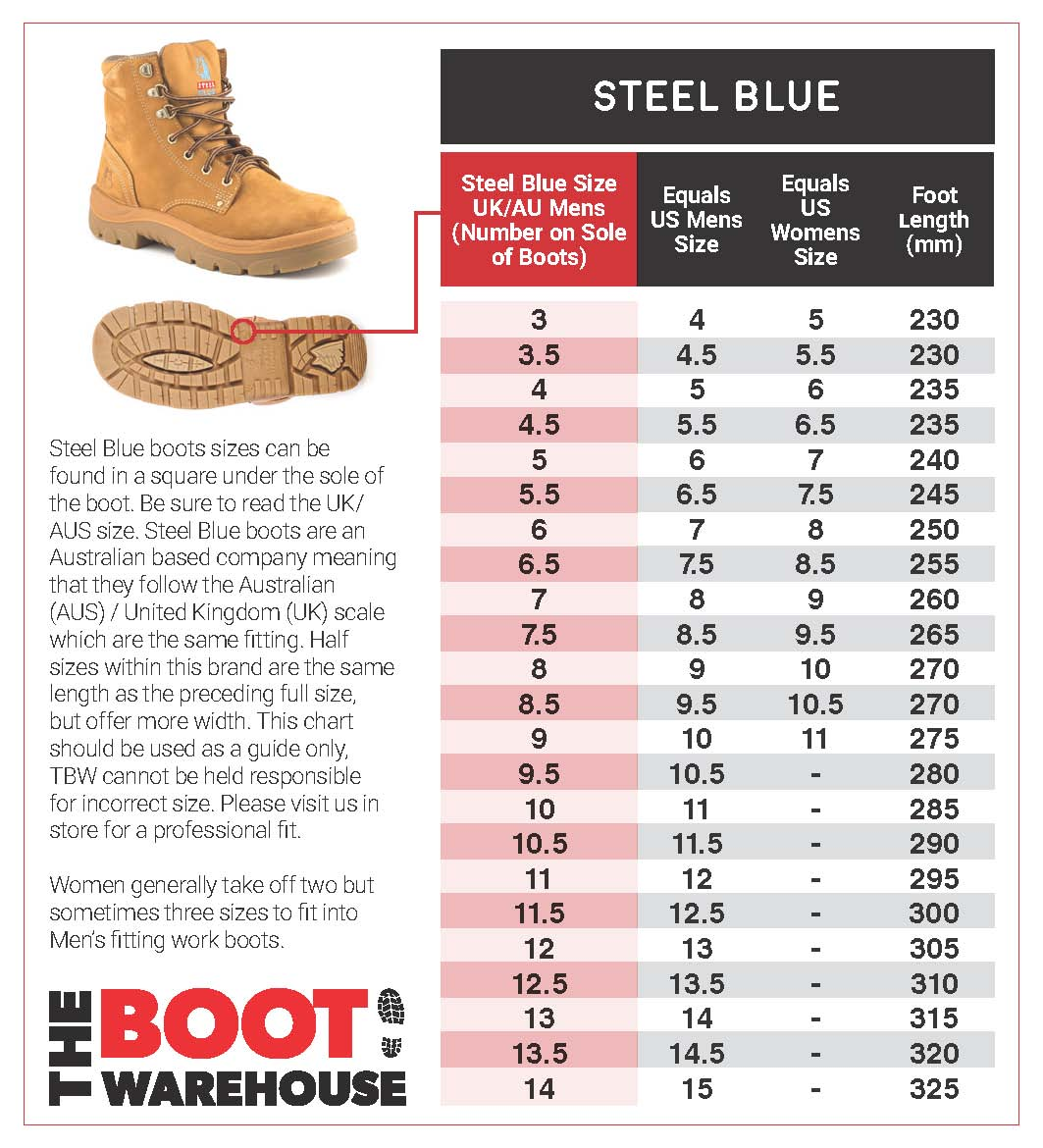 steel blue size guide